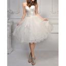 2019 New Style Sweetheart Knee Length Satin Organza Wedding Dresses
