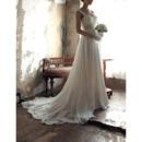 Custom Sweetheart Sweep Train Chiffon Wedding Dresses with Straps