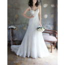 Discount Sweetheart Sweep Train Chiffon Wedding Dresses with Straps