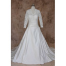 Vintage A-Line V-Neck Taffeta Wedding Dresses with Long Lace Sleeves
