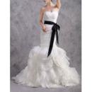 Inexpensive Mermaid Sweetheart Ruffle Skirt Wedding Dresses with Belts