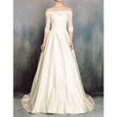 Custom Off-the-shoulder Satin Wedding Dresses with Half Sleeves
