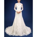 Custom Sheath Long Organza Backless Wedding Dresses with Long Sleeves