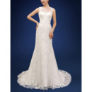 Inexpensive Sheath Sleeveless Court Train Organza Wedding Dresses