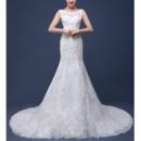 Elegant Sheath Round Neckline Court Train Organza Wedding Dresses