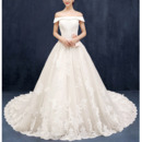 Luxurious A-Line Off-the-shoulder Chapel Train Organza Wedding Dresses
