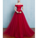 Formal A-Line Off-the-shoulder Sweep Train Organza Evening Dresses