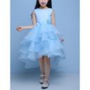 Custom High-Low Satin Organza Layered Skirt Flower Girl Dresses