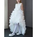 2018 New Style High-Low Sweep Train Ruffle Skirt Flower Girl Dresses