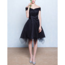 Custom Off-the-shoulder Short Black Homecoming Dresses with Bows