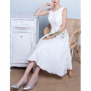 Discount Classic A-Line Sleeveless Tea Length Lace Wedding Dresses