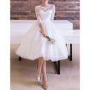 Custom A-Line Knee Length Wedding Dresses with 3/4 Long Sleeves