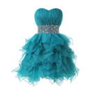 Sexy Sweetheart Short Organza Lace-Up Ruffled Skirt Cocktail Dresses