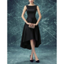 Custom Bateau Sleeveless High-Low Satin Black Cocktail Party Dresses