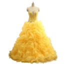 Custom Ball Gown Sweetheart Full Length Ruffle Skirt Prom/ Party Dress