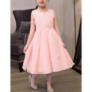 2018 New A-Line Tea Length Chiffon Applique Flower Girl Dresses