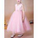 Custom Ball Gown Sleeveless Tea Length Satin Organza Flower Girl Dress