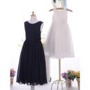 Affordable Sleeveless Tea Length Satin Chiffon Flower Girl Dresses