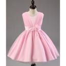 Adorable Ball Gown Sleeveless Knee Length Satin Flower Girl Dresses