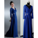 Custom V-Neck Floor Length Chiffon Mother Dress with 3/4 Long Sleeves