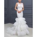 2018 Style Sheath Sleeveless Sweep Train Layered Skirt Wedding Dresses