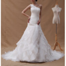 2018 Style One Shoulder Court Train Chiffon Pleated Wedding Dresses