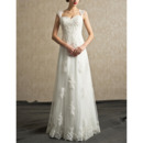 2019 New Sweetheart Floor Length Organza Wedding Dresses with Straps