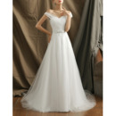 Affordable Sweetheart Sweep Train Organza Wedding Dresses with Straps
