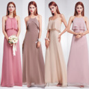 Custom Spaghetti Straps Floor Length Chiffon Bridesmaid Dresses