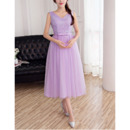 Affordable V-Neck Sleeveless Tea Length Lace Tulle Bridesmaid Dresses