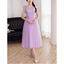 Affordable V-Neck Sleeveless Tea Length Lace Tulle Bridesmaid Dresses