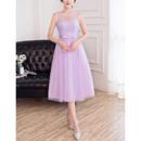 Discount Sleeveless Tea Length Tulle Satin Bridesmaid Dresses