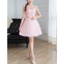 Elegant Sleeveless Mini/ Short Satin Tulle Bridesmaid Dresses