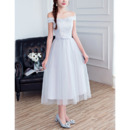 Affordable A-Line Off-the-shoulder Tea Length Bridesmaid Dresses