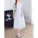 Elegant V-Neck Tea Length Bridesmaid Dresses with Half Sleeves