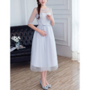 Discount Tea Length Satin Tulle Bridesmaid Dresses with Half Sleeves
