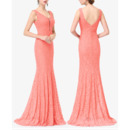 Custom V-Neck Sleeveless Floor Length Lace Evening/ Prom Dresses