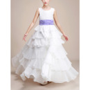 2018 New Style Floor Length Chiffon Layered Skirt Flower Girl Dresses