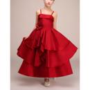Custom Spaghetti Straps Ankle Length Satin Flower Girl Dresses
