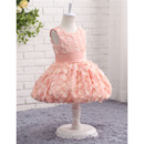 Discount Sleeveless Knee Length Flower Girl Dresses with Applique
