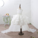 Custom Short Ruffle Skirt Flower Girl Dress with Detachable Train