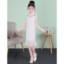 Stunning Column Mandarin Collar Short Lace Flower Girl Dresses