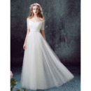 2018 Off-the-shoulder Long Organza Wedding Dresses with Short Sleeves