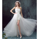 Discount Sweetheart Sleeveless High-Low Organza Wedding Dresses