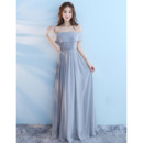 Discount Off-the-shoulder Floor Length Chiffon Bridesmaid Dresses
