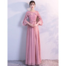 2018 New Style Long Chiffon Evening Dresses with 3/4 Long Sleeves