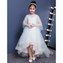 2018 New Style High-Low Sweep Train Organza Flower Girl Dresses