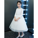 Custom Tea Length Lace Organza Flower Girl Dresses with Long Sleeves
