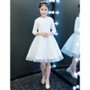 Adorable Short Lace Organza Flower Girl Dresses with Long Sleeves