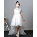 2018 Style Mandarin Collar Sleeveless High-Low Flower Girl Dresses